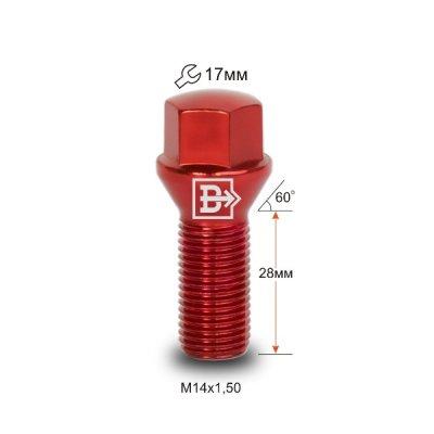 Болт M14X1,50X28 Красный Хром Конус с выступом ключ 17 мм C17D28 R-Cr