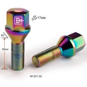 Болт M12X1,50X28 Радужный Титан Конус с выступом ключ 17 мм C17A28 Ti-C