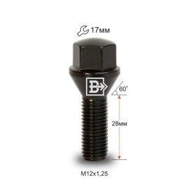 Болт M12X1,25X28 Черный Хром Конус с выступом ключ 17 мм C17B28 B-Cr