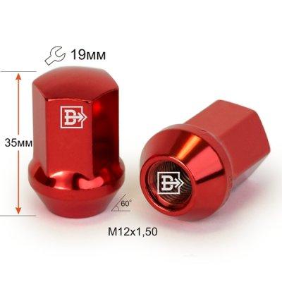 Гайка M12X1,50 Красный хром высота 35 мм Конус с выступ. кл.19мм 801445 RD-Cr