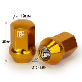 Гайка M12X1,50 Золото хром высота 35 мм Конус с выступ. кл.19мм 801445 GD-Cr