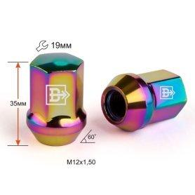 Гайка M12X1,50 Радужный Титан Хром высота 35 мм Конус с выступ. кл.19мм 801445 Ti-Cr