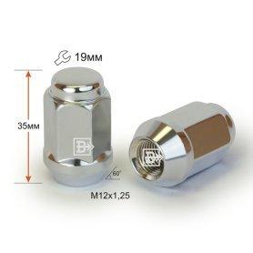Гайка M12X1,25 Хром высота 34 мм Конус с выступ., закр., кл.19мм 801444 Cr D2 Cr