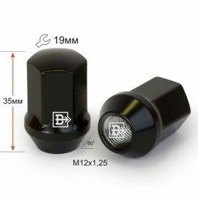 Гайка M12X1,25 Черный хром высота 35 мм Конус с выступ. кл.19мм 801444 BA-Cr