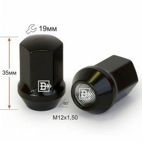 Гайка M12X1,50 Черный хром высота 35 мм Конус с выступ. кл.19мм 801445 BA-Cr
